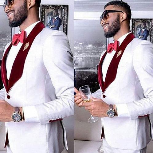 Men Groom Tuxedo Blazer Burgundy Shawl Lapel Costume Slim Fit Terno Masculino