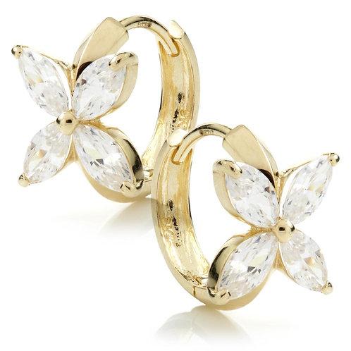 9ct Gold Crystal Flower 12mm Hoop Earring