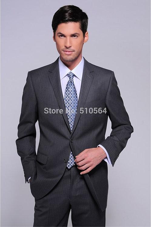 Wool Grey Stripe Men Suit Custom Made Wedding Business Suit(jacket+pants)