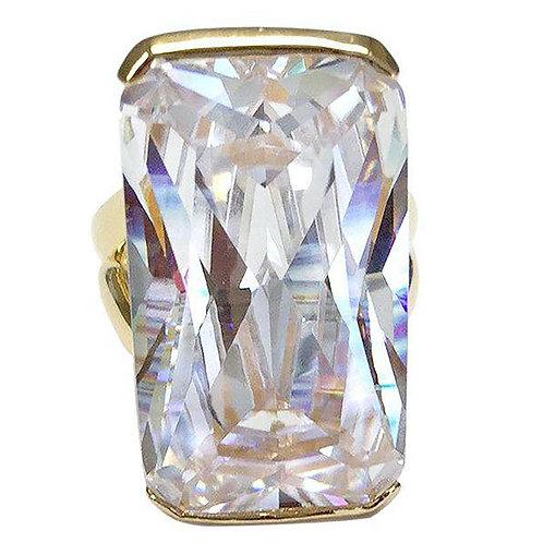 Oversized Emerald Cut Clear CZ Goldtone Fashion Ring