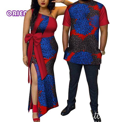 Couples Bazin Riche African Print Men Shirt and Women Dress WYQ114
