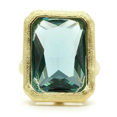 Huge Bezel Set Emerald Cut Blue Stone Brushed Gold Ring