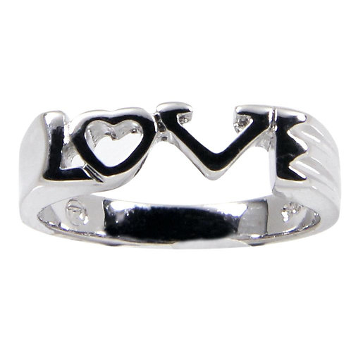 Adorable 3 Mm Sterling Silver Connected Love Word Ring