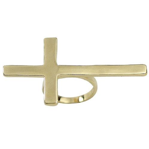 Trendy Oversized Sideways Cross Ring