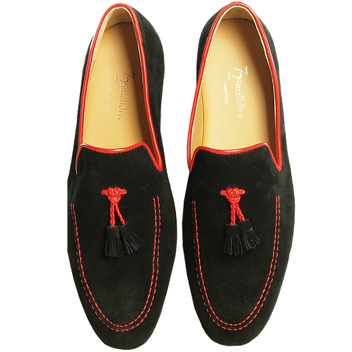 Suede Loafers in Calf Leather Trimming Black