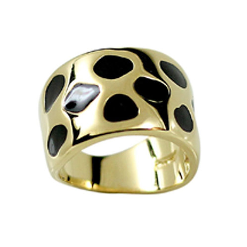 Black Gold Animal Print Wide Band Gold Black Accent Ring