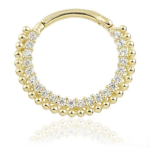 Solid Gold Multi Gem Pavé Daith Ring