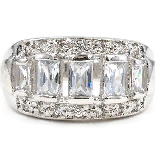 Graduated Emerald Cut Clear Stone Ring