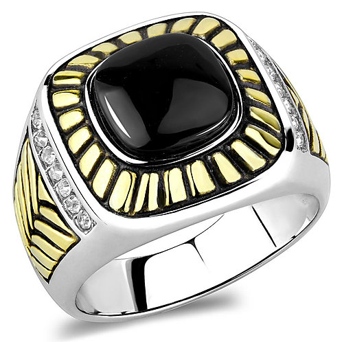 Men Stainless Steel Synthetic Onyx Rings TK3294