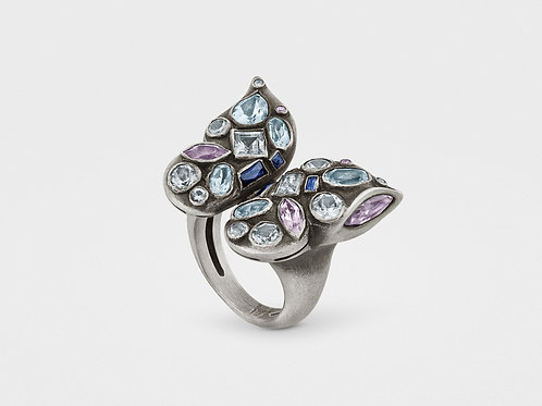 Butterfly Ring With Gemstones in Sterling Silver