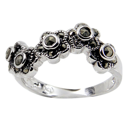 Wavy Flower Sterling Silver Band Marcasite Stones Ring