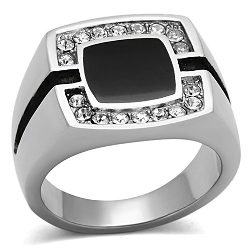 Men Stainless Steel Synthetic Crystal Rings TK1183