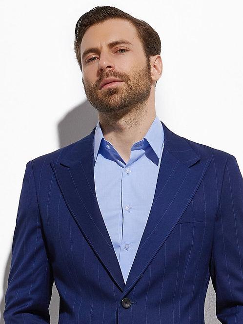 Dark Blue Super Wide Chalk Stripe Stylish Suit Men Business Suit With Pants