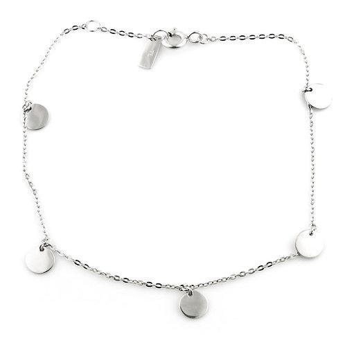 9ct White Gold Dainty Circle Charm Bracelet