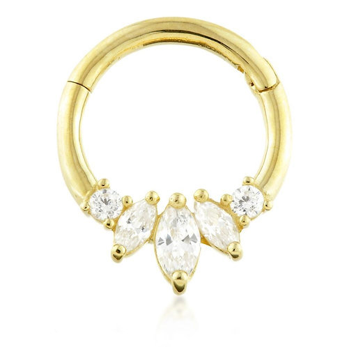 9ct Gold Front Facing Marquise Daith Ring