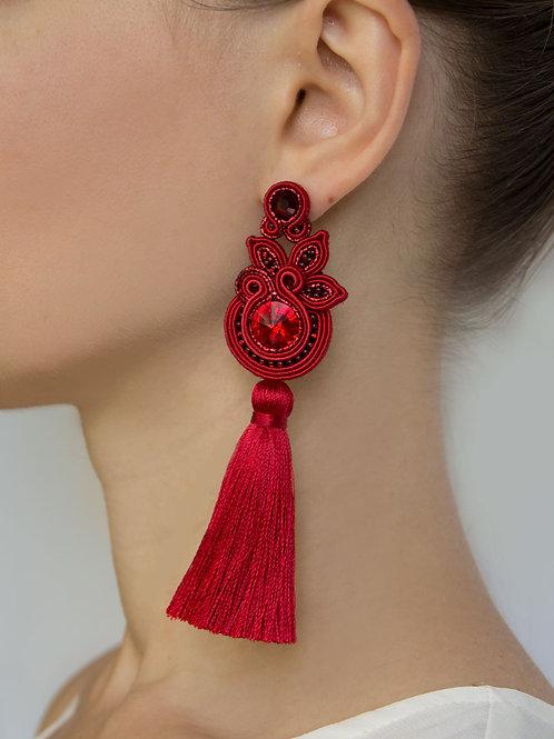 Floral Tassel Earrings in Dark Red Color
