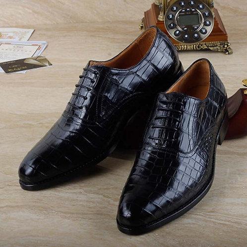 Male Business  Suit Crocodile Leather Men Shoes Single Shoes Men's Leather Shoes