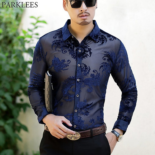 Transparent Mens Dress Shirts See Trough Sexy Club Party Prom Social Shirt
