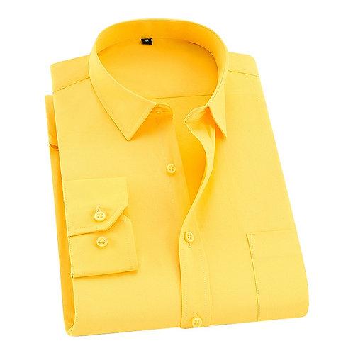 Causal Shirts Twill White Yellow Shirt Brand Formal Shirts Soft DS275