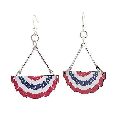USA Pleated Fan Flag Earrings #1638