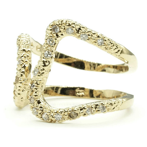 Openwork Wrap Textured Clear Stones Cuff Ring