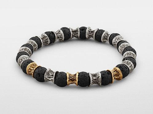 Lava Beads, Three Gold Links, Oxidized Sterling Silver Bracelet