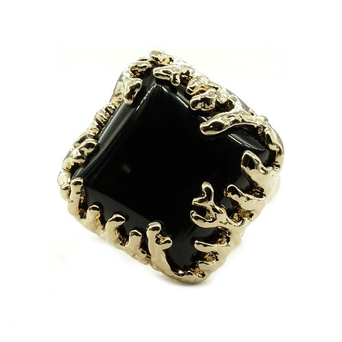 Coral Wrapped Offset Square Simulated Onyx Ring