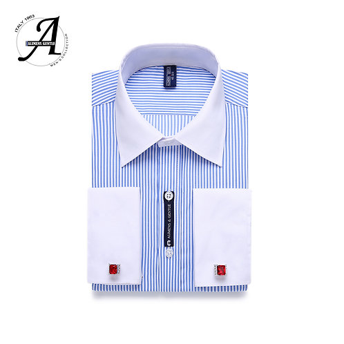 Shirt Long Sleeved White Collar Design Style Mens French Cuff Dress Shirts