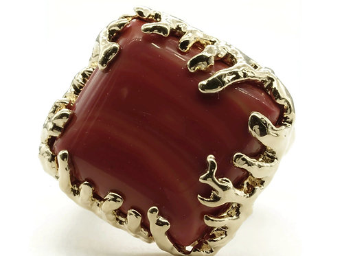 Coral Wrapped Offset Square Simulated Coral Stone Adjustable