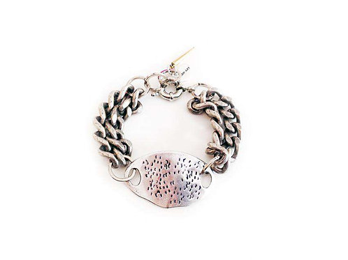 Cuff Bracelet With Single Plastron in Silver, Gold, Rose Gold