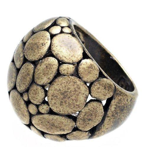 Fabulous Rustic Dome Flattened Pebble Ring