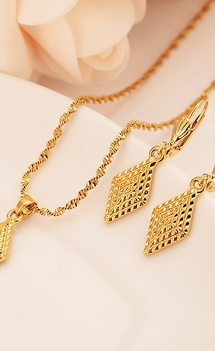 Nigerian Wedding Gold Multi Layer Necklace Pendantearring Indian Jewelry Sets