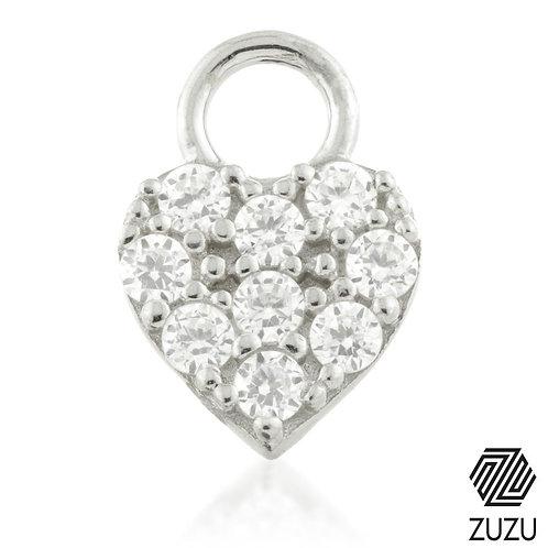 Silver CZ Heart Charm for Plain Clicker Hoop