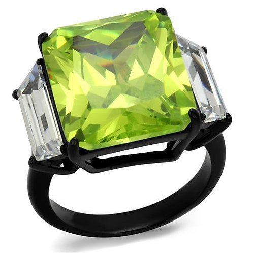 Black(Ion Plating) Stainless Steel Ring With AAA Grade CZ in Apple Green Color
