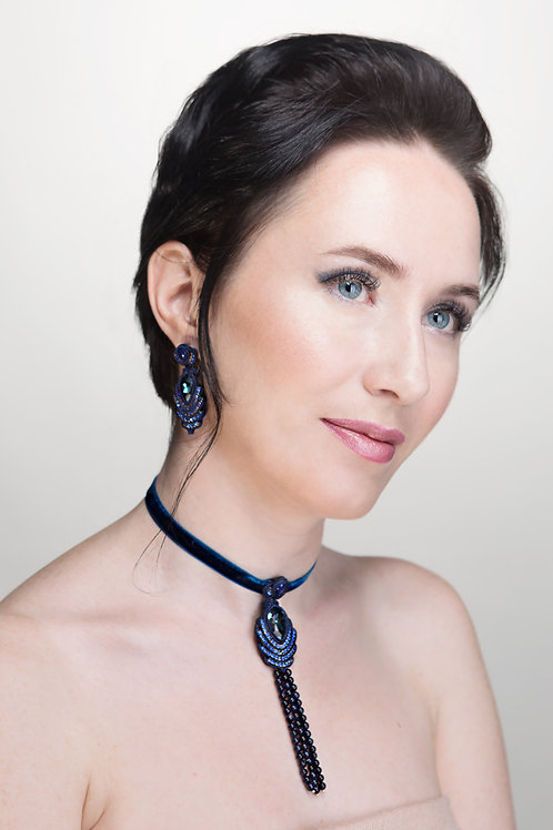 Choker Necklace With Pendant and Beaded Tassel in Dark Blue Color