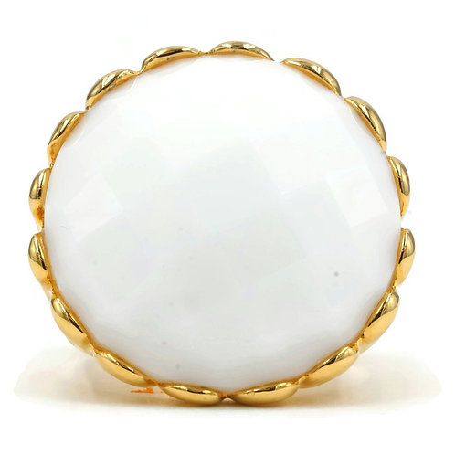 Mesmerizing Faceted White Stone Openwork Shank Ring