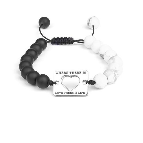 Matte Onyx and Howlite Bead and Steel Plate With Love Sign Bracelet