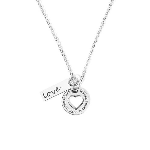 Steel Pendant With Love Sign Chain Necklace