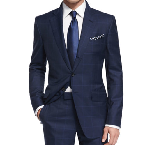 Business Suits With Bemberg Lining,Bespoke Tailore Casual Windowpane Blue Suit