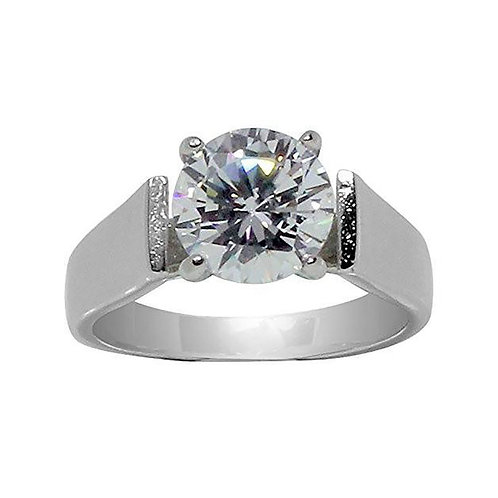 Large Round Prong Set Classic Wide Band Ring