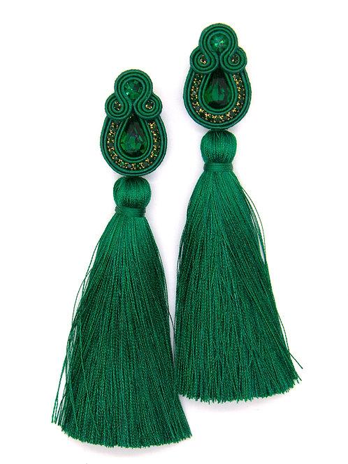 Long Tassel Earrings in Green Color