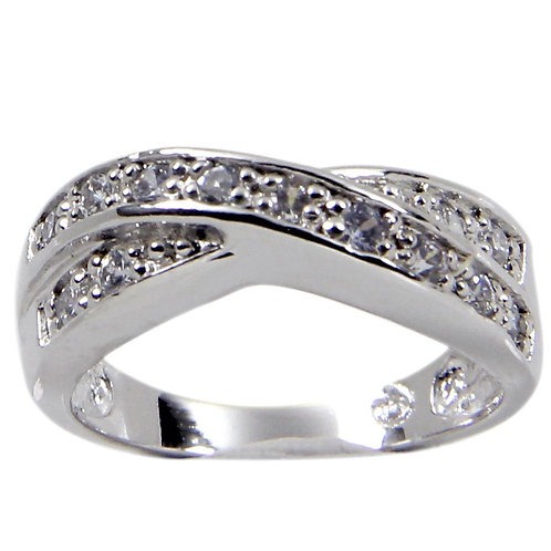 Special Criss Cross Sterling Silver Band Thirteen Stones Ring