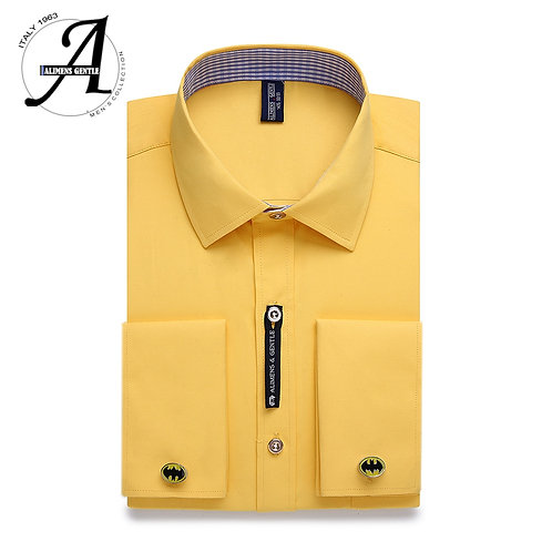 Long Sleeve Solid Color Striped Style Cufflink Include 2019 Fashion New