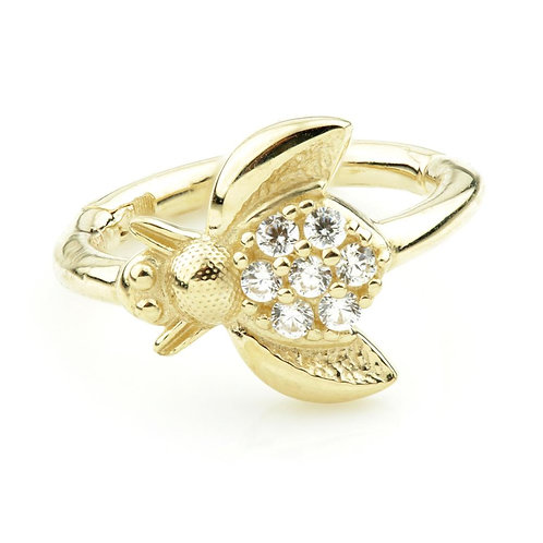 Solid Gold CZ Bumblebee Hinge Rook Ring