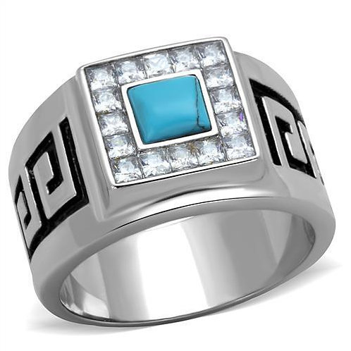 Men Stainless Steel Synthetic Turquoise Rings