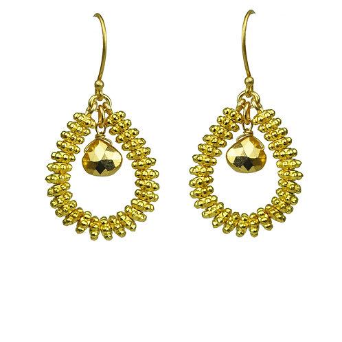Gold Pyrite Drop Hoop Earrings