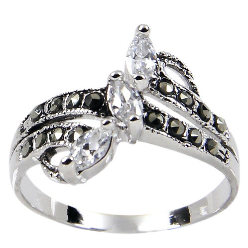 Sterling Silver Three Tiered Angle Set Clear Marquise Ring