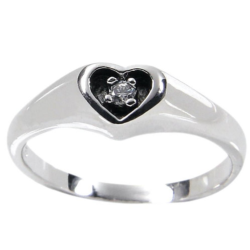 Sterling Silver Antique Style Carved Out Heart Ring