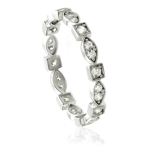 9ct White Gold Crystal Marquise & Square Statement Ring