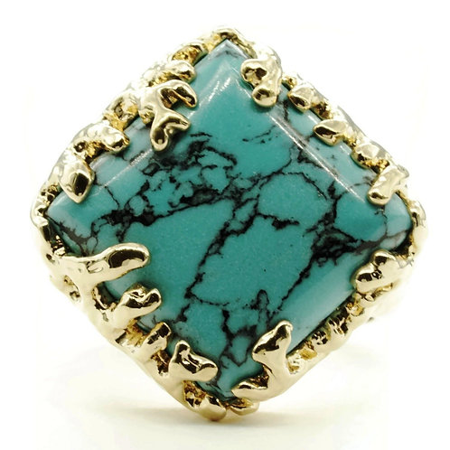 Coral Wrapped Offset Square Simulated Turquoise Stone Adjustable